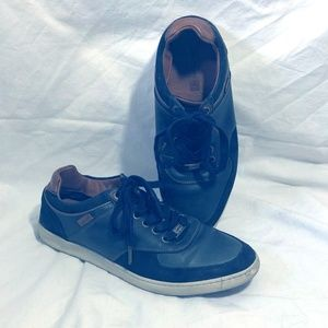 Mens Navy Blue Leather and Suede Levi Sneakers